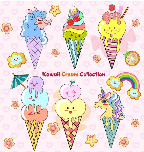 可爱夏季冰淇淋
