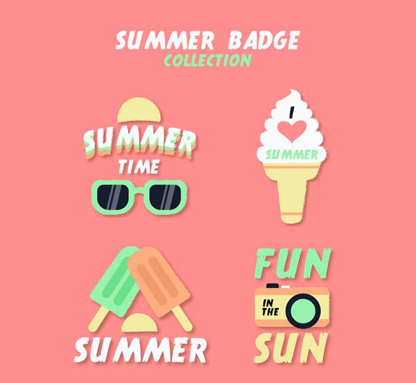 精致夏季元素徽章