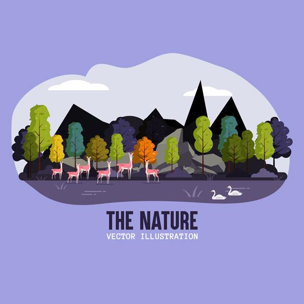 山林鹿群自然风景