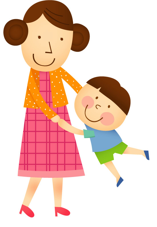 Cartoon mother and child