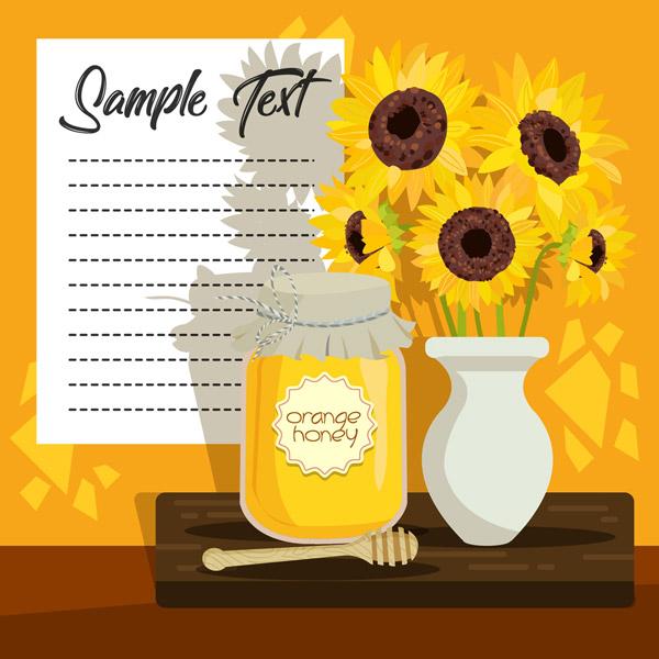 向日葵花和蜂蜜