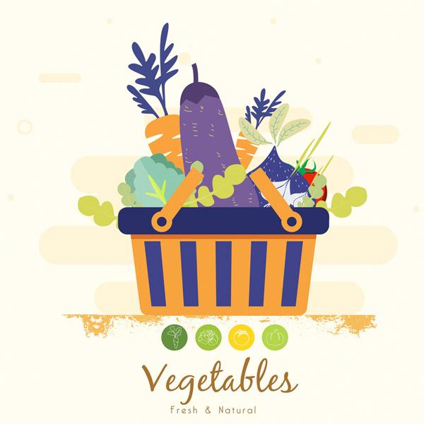 装满购物篮的蔬菜