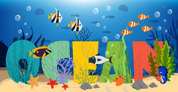海底海洋艺术字