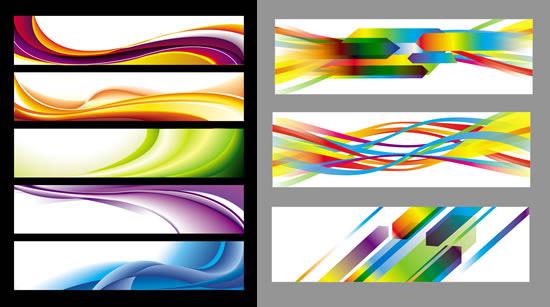 横幅设计,彩色线条,渐变色彩