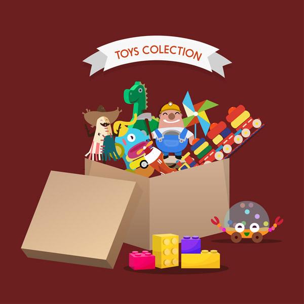 装满玩具的纸箱