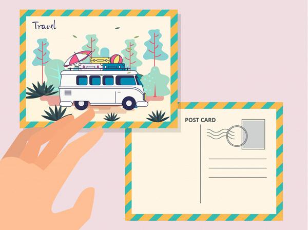 旅行明信片和手臂