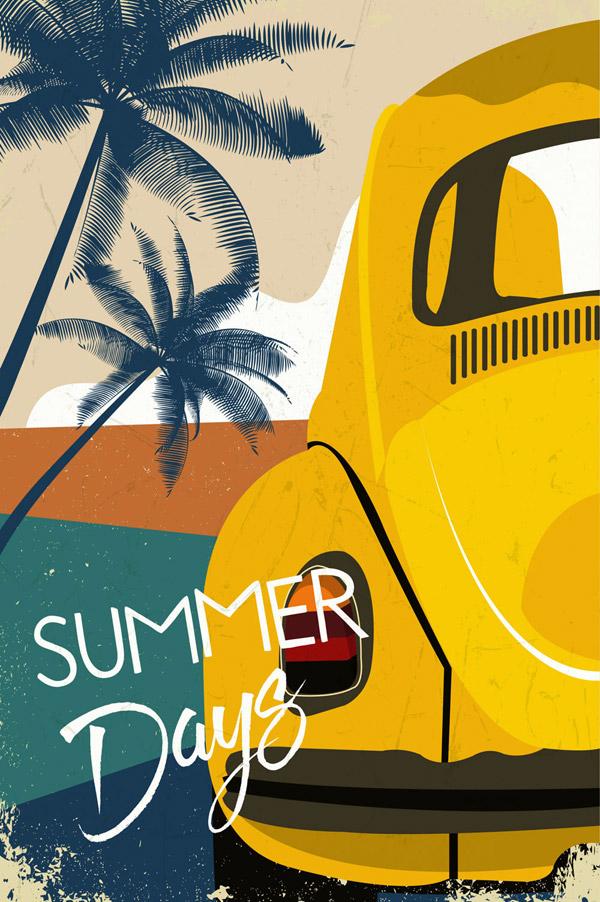 复古夏季海边轿车