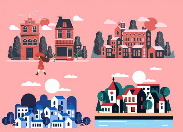 小城建筑风景矢量