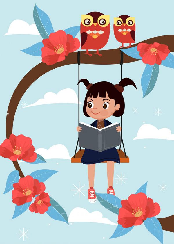秋千上看书的女孩_秋千上读书的女孩_素材中国sccnn.com