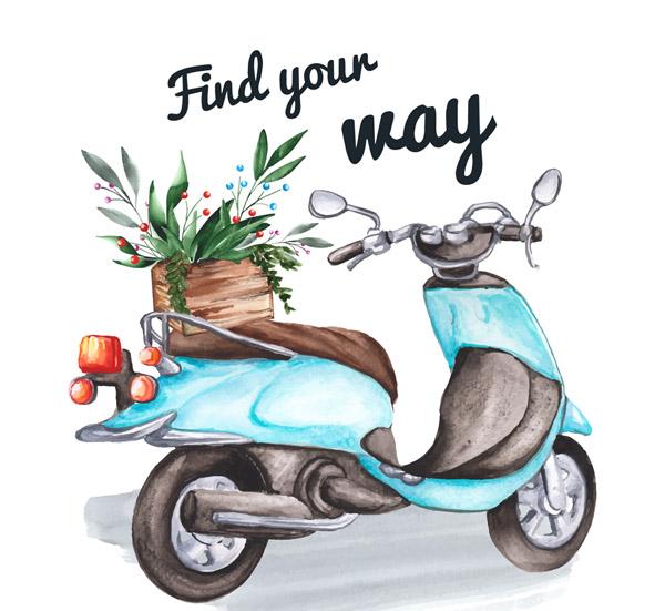 蓝色摩托车和花篮