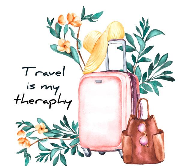 花枝和旅行箱