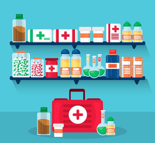 医药架子和医疗箱