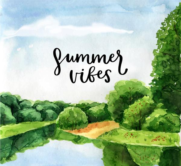 夏季湖边风景