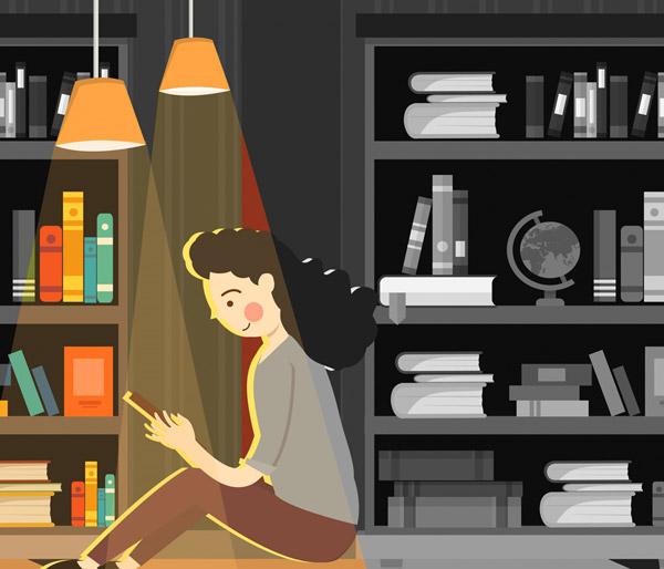 书房阅读的女子