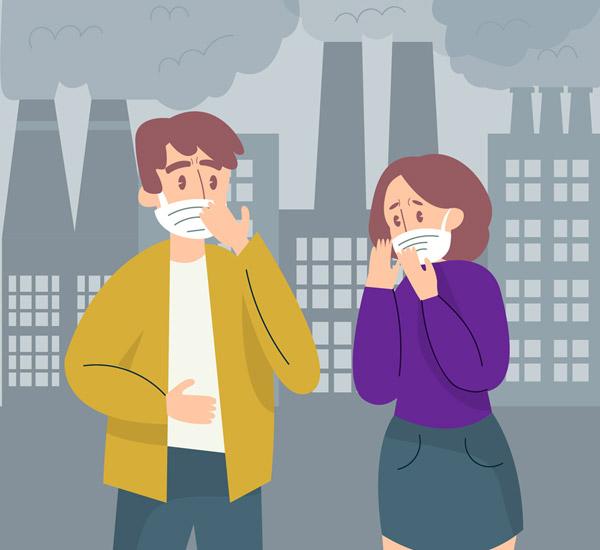 环境污染戴口罩人物