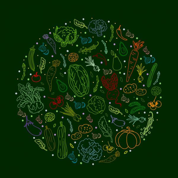 蔬菜组合圆形