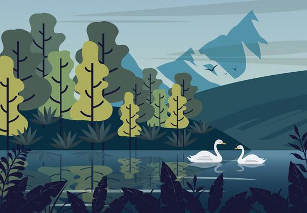 雪山湖泊天鹅风景
