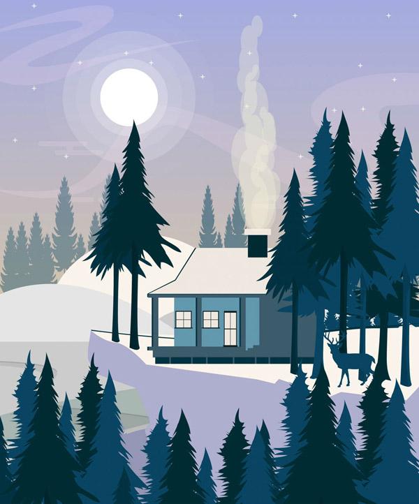 冬季郊外木屋风景