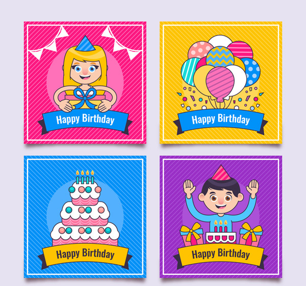 彩色生日卡片