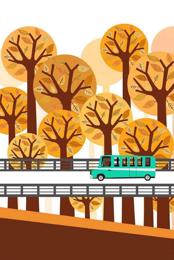 桥上行驶的汽车