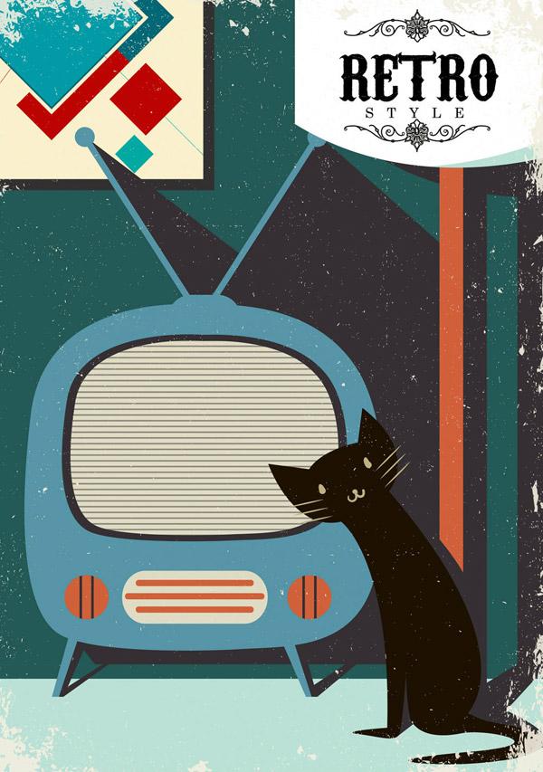 复古电视和黑色猫咪