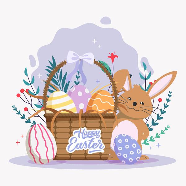 复活节彩蛋篮子和兔子