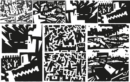 卡通黑白抽象画