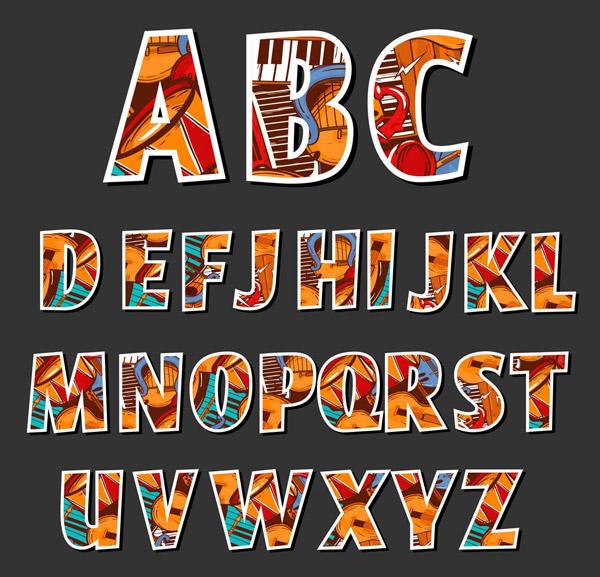 彩色乐器贴纸字母