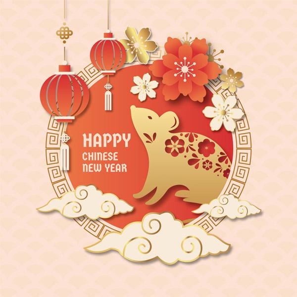 花卉老鼠新年贺卡