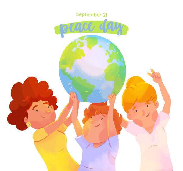 和平日人物和地球