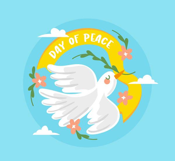 和平日白鸽条幅