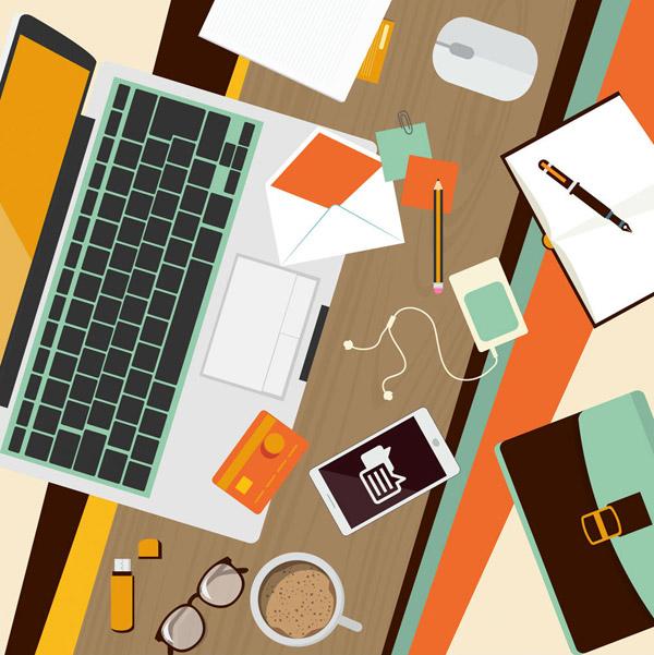 摆满物品的办公桌