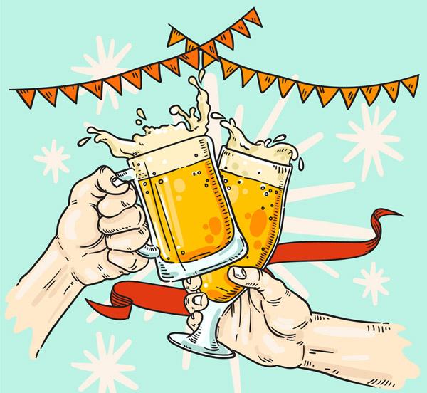 啤酒节碰杯的手臂