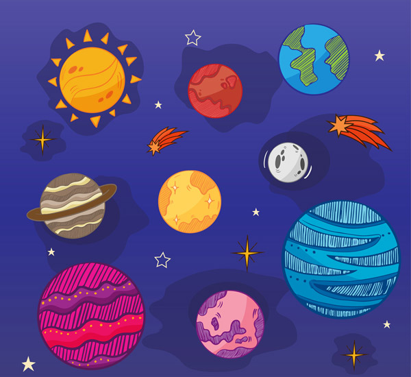 彩色太阳系行星