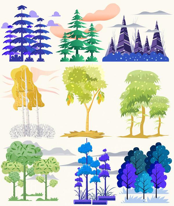 彩色森林树木