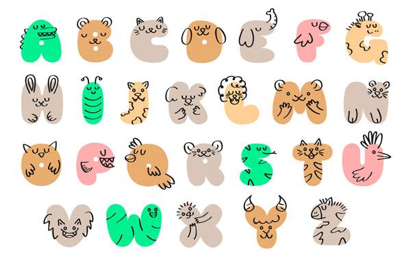 抽象动物字母