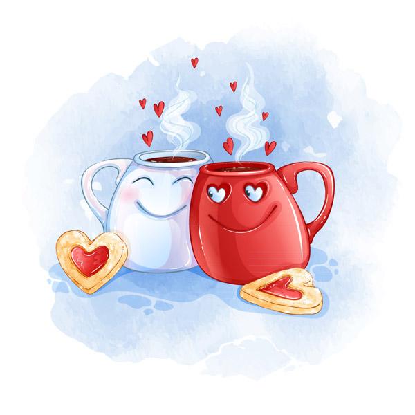 卡通咖啡杯情侣