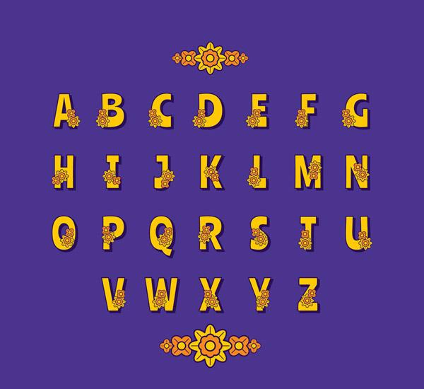 黄色花卉装饰字母