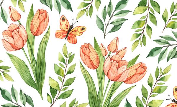 彩绘郁金香蝴蝶