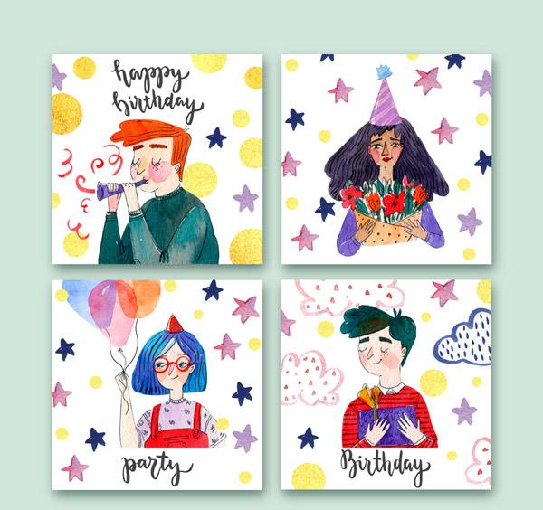 生日派对人物卡片