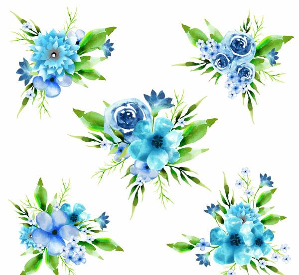 水彩绘蓝色花束
