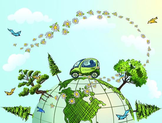 点 关键词: 卡通手绘环保插画矢量素材,卡通手绘,环保插画,地球,汽车