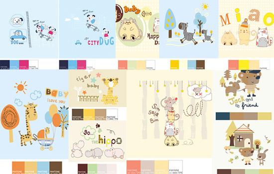 Animal illustration color card