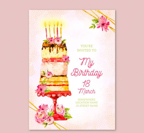生日蛋糕邀请卡