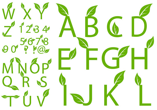 Green leaf decorative fonts