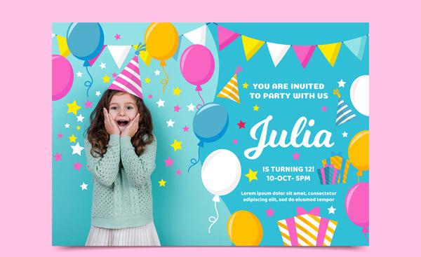 女孩生日派对邀请卡