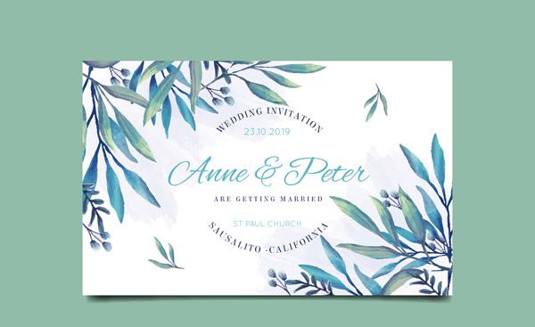 树叶婚礼邀请卡