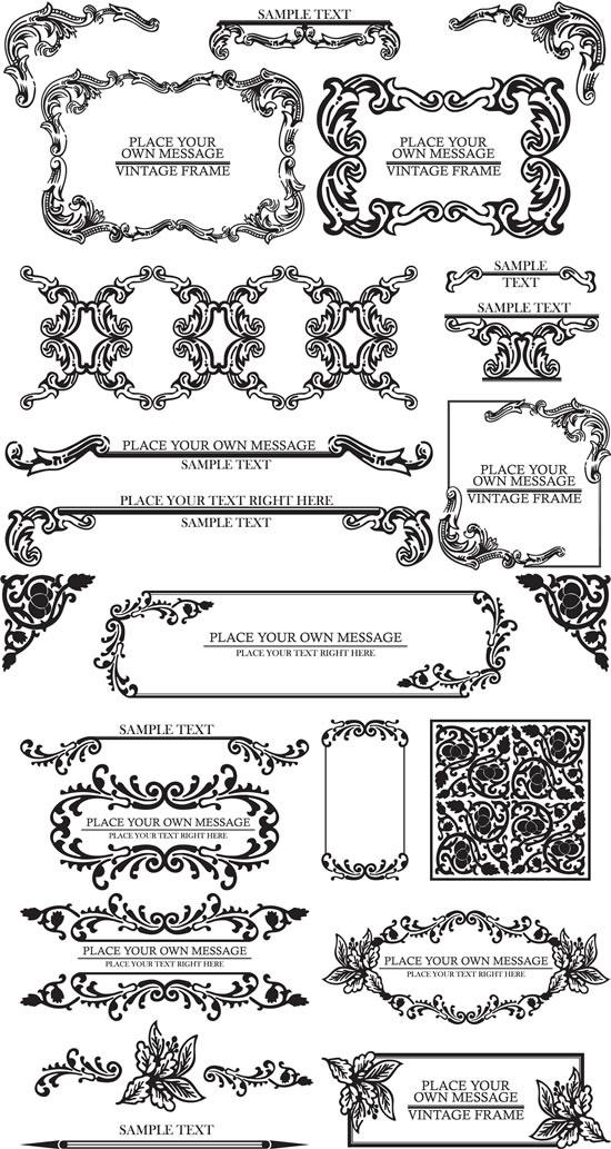 经典欧式花纹花边矢量图,经典花纹,欧式花边,花纹边框,线条,圆点,古典纹样,边角样式,花纹AI矢量素材下载