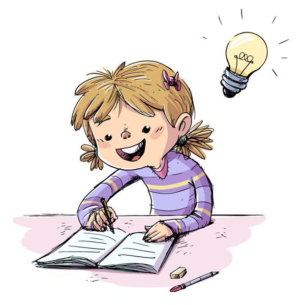 彩绘写作业的女孩
