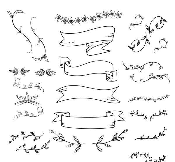 装饰花草和条幅